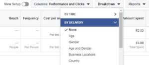 Breakdown button facebook ads
